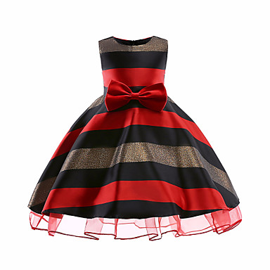 שמלה ללא שרוולים פסים יום יומי בנות ילדים / כותנה / חמוד