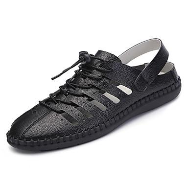 Męskie Komfortowe buty PU Lato Sandały Biały / Czarny