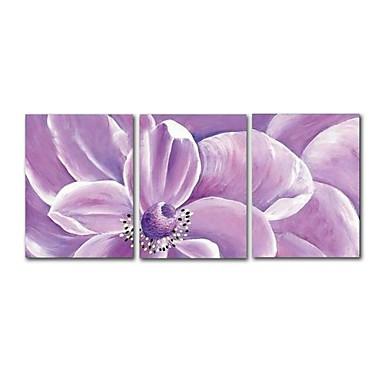 Hang-Malowane obraz olejny Ręcznie malowane - Abstrakcja / Kwiatowy / Roślinny Nowoczesne / Nowoczesny Płótno / Trzy panele / Rozciągnięte płótno