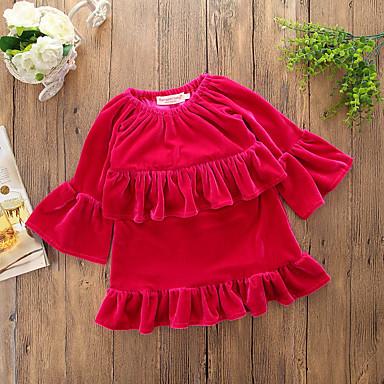 שמלה חוטי זהורית אביב סתיו שרוול ארוך יומי ליציאה אחיד הילדה של פשוט חמוד אודם