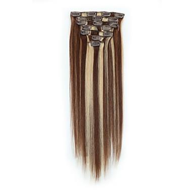 Responsabile Con Clip Estensioni Dei Capelli Umani 7pcs - Confezione 70g - Pack Marrone Pastello - Strawberry Blonde Brown Medio - Bleach Blonde #06573241