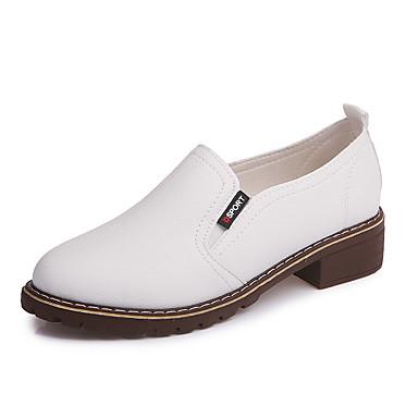 Női Cipő PU Tavasz / Ősz Kényelmes Félcipők Fehér / Fekete / Piros
