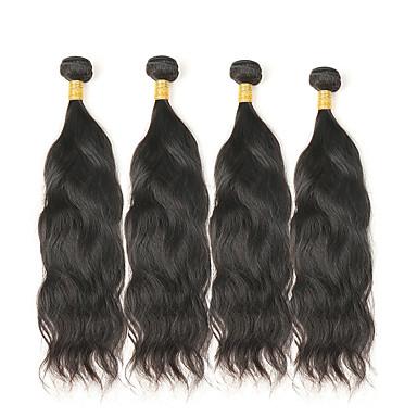 baratos Extensões de Cabelo Natural-4 pacotes Cabelo Mongol Ondulado Natural 10A Cabelo Natural Remy Cabelo Humano Ondulado Tramas de cabelo humano Extensões de cabelo humano