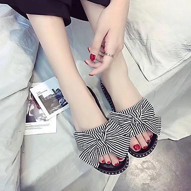 Women's Shoes PU(Polyurethane) Spring / Summer Comfort Sandals Flat Heel Open Toe Imitation Pearl / Flower Black / Blue / Pink