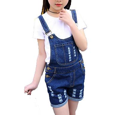 baratos Conjuntos para Meninas-Infantil Para Meninas Simples Activo Diário Feriado Sólido Listrado Estampado Listas Estampado Ganga Manga Curta Algodão Conjunto Branco