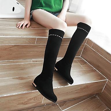 Bout Chaussures de rond Bottes Bottes Femme Cavalières Similicuir Bottes Rivet Hiver Noir Bottes 06570014 Beige neige Talon Rouge Bas SApSxn
