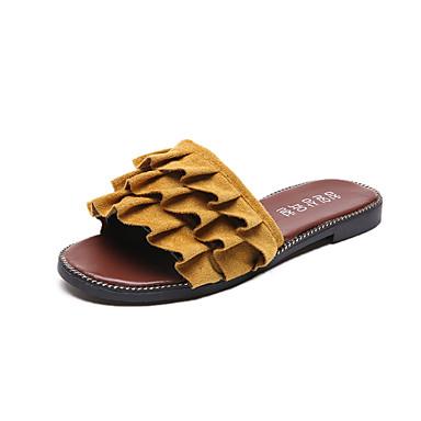 Mulheres Sapatos Couro Ecológico Primavera Verão Conforto Sandálias Sem Salto Dedo Aberto Pérolas Sintéticas para Casual Social Branco