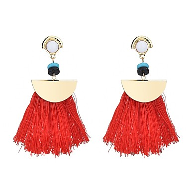 בגדי ריקוד נשים קריסטל פרנזים עגילי טיפה - קריסטל צִיצִית, בוהמי, בוהו פוקסיה / אדום / כחול עבור יומי / חגים