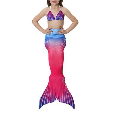 The Little Mermaid Swimwear / Bikini Girls' Halloween / Carnival Festival / Holiday Halloween Costumes Yellow+Blue / Black / Orange / Red+Blue Vintage