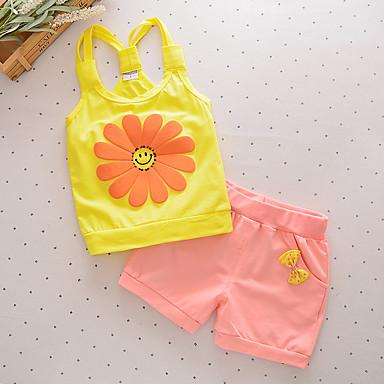 סט של בגדים כותנה קיץ ללא שרוולים יומי טלאים בנות פעיל צהוב פוקסיה