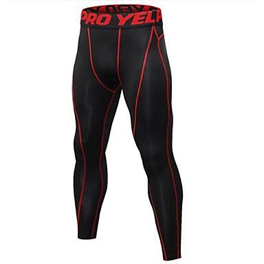 בגדי ריקוד גברים טייץ לריצה - שחור / כסף, שחור / אדום, שחור / ירוק ספורט טייץ רכיבה על אופניים לבוש אקטיבי משקל קל, ייבוש מהיר, עיצוב
