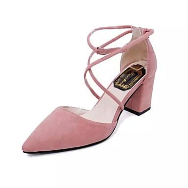Damen Schuhe PU Frühling Sommer Pumps Komfort Sandalen Stöckelabsatz Spitze Zehe Schnalle für Büro & Karriere Party & Festivität Kleid