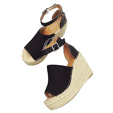 Femme Daim de Boucle Escarpin semelle 06602352 Amande compensée Marron Basique ouvert Sandales Noir Hauteur Eté Bout Chaussures 00rqwf