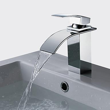ברז לאמבטיה / ברז מטבח / חדר רחצה כיור ברז - מפל מים כרום כלי חור ידית אחת אחתBath Taps