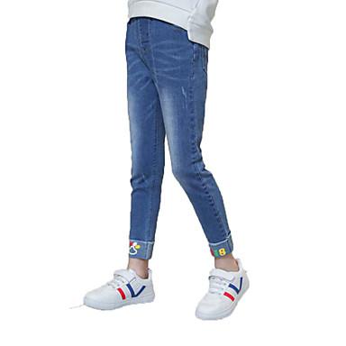 ג'ינס כותנה פוליאסטר אביב סתיו ללא שרוולים יומי אחיד דפוס בנות פשוט יום יומי פול