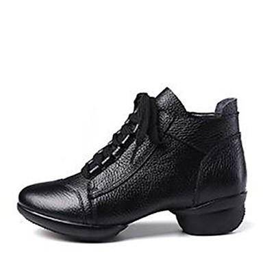 בגדי ריקוד נשים מגפי ריקוד עור נאפה Leather סוליה חצויה עקב נמוך מותאם אישית נעלי ריקוד לבן / שחור