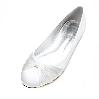 Χαμηλού Κόστους Γυναικεία παπούτσια γάμου-Γυναικεία Γαμήλια παπούτσια Επίπεδο Τακούνι Στρογγυλή Μύτη Σατέν Λουλούδι / Κορδέλα Σατέν Ανατομικό / Μπαλαρίνα Άνοιξη / Καλοκαίρι Σκούρο μπλε / Ασημί / Κρύσταλλο / EU40