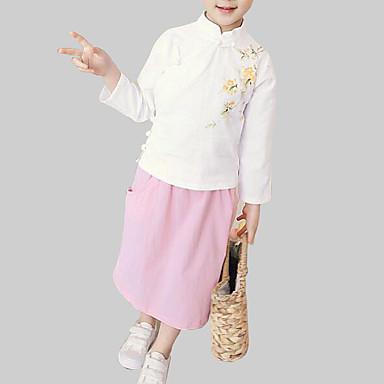 בנות סגנון סיני כותנה מכנסיים - פרחוני מדפיס לבן / ליציאה