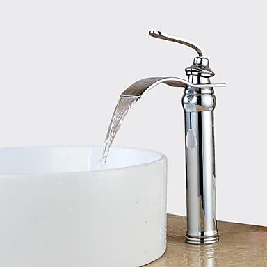 Moderne Mittellage Wasserfall Verbreitete Keramisches Ventil Ein Loch Einhand Ein Loch Chrom, Waschbecken Wasserhahn
