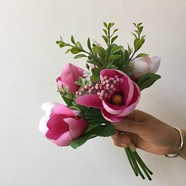 פרחים מלאכותיים 7 ענף כפרי / פרחי חתונה סחלבים פרחים לשולחן