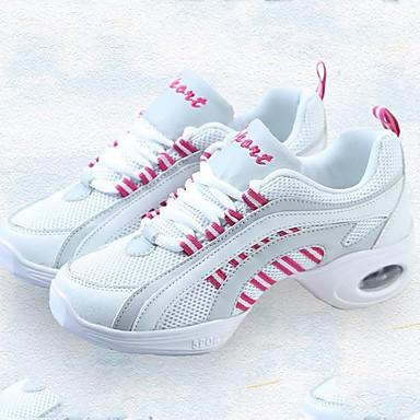 בגדי ריקוד נשים סניקרס לריקוד קנבס / טול נעלי ספורט שחבור עקב נמוך מותאם אישית נעלי ריקוד ורוד ולבן