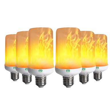 billige Elpærer-YWXLIGHT® 6pcs 6 W LED-kornpærer 300-400 lm E26 / E27 99 LED perler SMD 3528 Dekorativ Flamme Flimrende Varm hvit 85-265 V