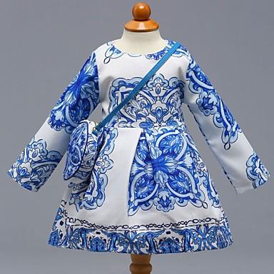 baratos Vestidos para Meninas-Bébé Para Meninas Casual Diário Escola Floral Estampa Colorida Manga Longa Vestido Azul / Algodão / Fofo