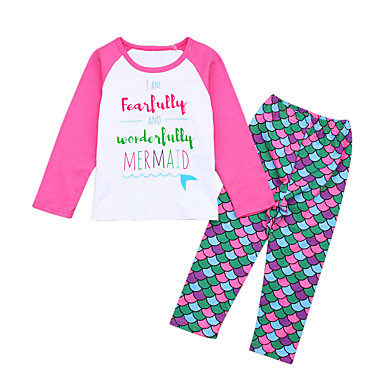 Brzdąc Dla dziewczynek Aktywny Wielokolorowa Długi rękaw Bawełna Komplet odzieży / Urocza