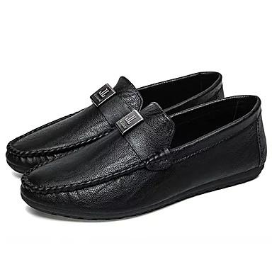 בגדי ריקוד גברים מוקסין PU אביב / סתיו נעליים ללא שרוכים שחור / אפור / קאמל