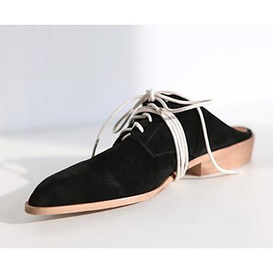 Mujer Zapatos Cuero Primavera / Otoño Confort Zuecos y pantuflas Tacón Bajo Dorado / Negro vopSq6