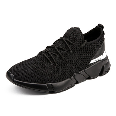 Men's Knit Spring / Fall Comfort Athletic Shoes Walking Shoes Black / Gray / Black And White