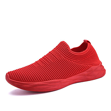 Unisex Tulle Spring / Fall Comfort / Light Soles Sneakers Flat Heel Round Toe Braided Strap Black / Gray / Red