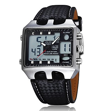 cheap Women's Digital Watches-Men's Women's Fashion Watch Digital Watch Square Watch Japanese Quartz Genuine Leather Black 30 m Water Resistant / Waterproof Analog - Digital Casual - Black Red Blue One Year Battery Life