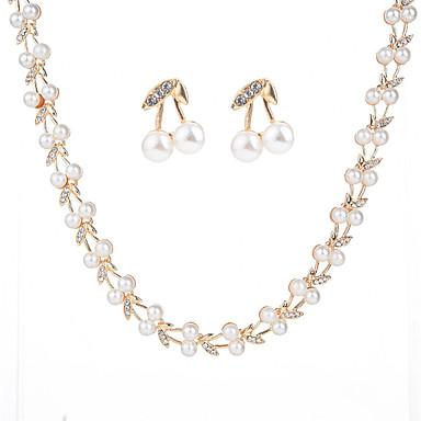 Damskie Cyrkonia Geometric Shape Biżuteria Ustaw - Sztuczna perła, Cyrkon Moda Zawierać Biały Na Impreza Wyjściowe / Kolczyki