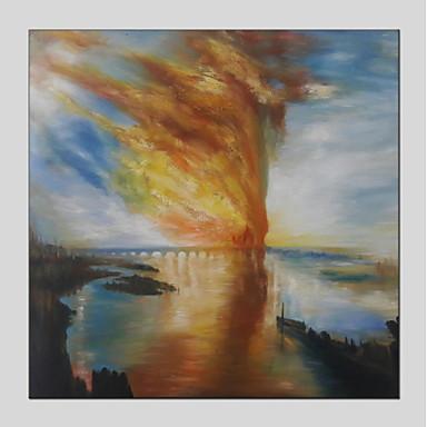 Hang-Malowane obraz olejny Ręcznie malowane - Abstrakcja Nowoczesny Naciągnięte płótka / Rozciągnięte płótno