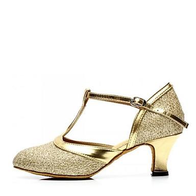 les femmes en amérique latine paillette sandale chunky talon talon talon de chaussures des souliers de danse Argent  / Violet  / Marron  / intérieur / cuir 8dd7b7