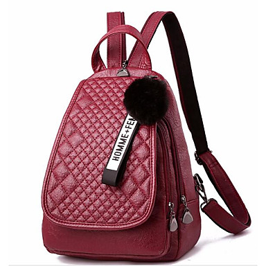 a3bb3c007ac744 Women's Bags PU(Polyurethane) Backpack Feathers / Fur Red / Gray / Purple