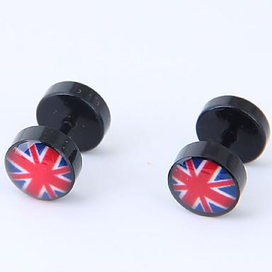 billige Moteøreringer-Dame Øredobber Det britiske flagget damer Europeisk Mote Titanium Stål øredobber Smykker Svart Til Avslappet Daglig