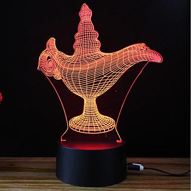 3D Nightlight Zmiana USB Przeciwe stresowi i niepokojom / Zmieniająca Kolor / Kreatywne 5 V 3D