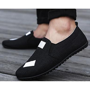 Męskie Komfortowe buty Len Wiosna / Jesień Mokasyny i buty wsuwane Czarny / Beżowy