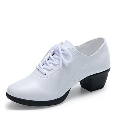 633ceb83d697 Women's Dance Sneakers Leather Heel Low Heel Customizable Dance Shoes White  / Black / Red