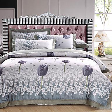 Seturi Duvet Cover Floral 100% bumbac / Bumbac Jacquard Jacquard 4 Piese