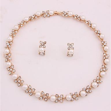 Damskie Biżuteria Ustaw - Imitacja pereł, Pozłacane Kwiat Prosty, Modny Zawierać Zestawy biżuterii ślubnej Złoty Na Ślub / Biuro i kariera