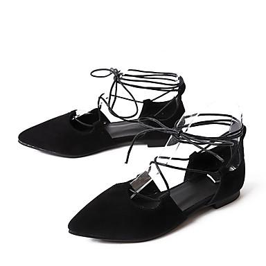 Plat Noir Jaune 06642232 Confort Laine Chaussures Bout Femme Rouge synthétique pointu Eté Ballerines Ruban Talon Printemps 81n7OZ7