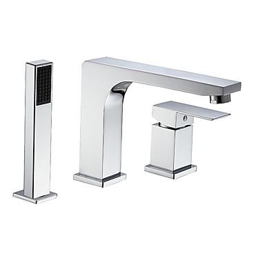 Ammehana - Nykyaikainen Kromi Roomalainen kylpyamme Keraaminen venttiili Bath Shower Mixer Taps / Kaksi kahvaa kolme reikää