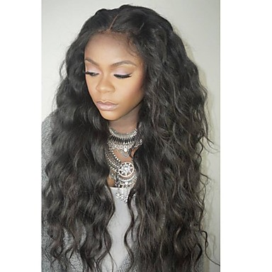 cheap Human Hair Wigs-Unprocessed Human Hair Full Lace Wig Layered Haircut style Brazilian Hair Wavy Black Wig 130% Density with Baby Hair For Black Women Black Women's Short Medium Length Long Human Hair Lace Wig Aili