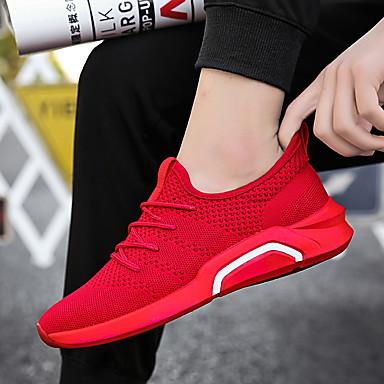 Homens sapatos Couro Ecológico Primavera Outono Conforto Tênis Caminhada para Casual Preto Cinzento Vermelho