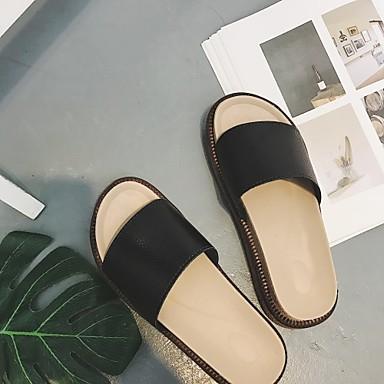 y flip flops Tacón Blanco de 05300430 Cuña Negro Verano Zapatillas Mujer Purpurina Cuero Cerdo Zapatos q8wCC0Y