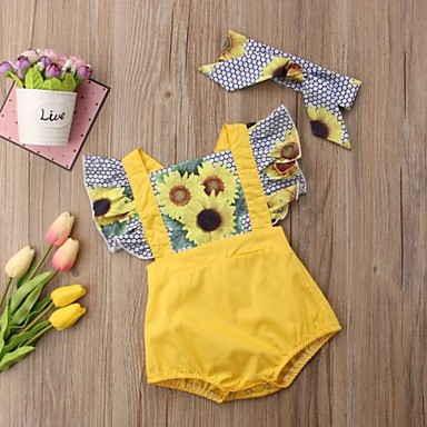 bdf20175c70 Baby Girls  Active Daily   Holiday Floral   Color Block Ruffle   Ruched    Floral Short Sleeves Polyester Romper Yellow   Cute   Print   Toddler