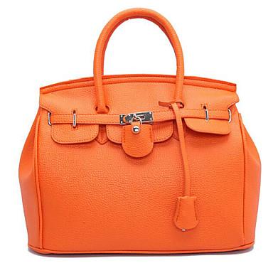 cheap Top Handles & Tote Bags-Hermes Style Women's Bags PU Tote Zipper Black / Orange / Red